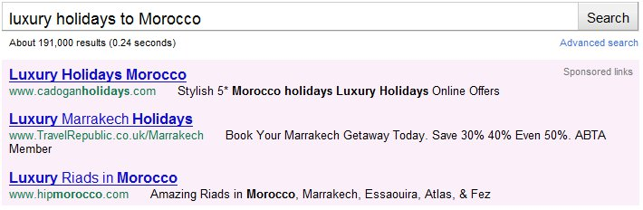 The Top 3 Paid Search Ads for 'Luxury Holidays in Morocco'